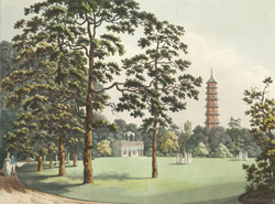 A view in Kew Gardens of the Alhambra & Pagoda